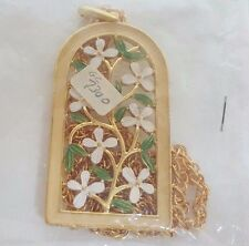 Vintage Vine Flower Enamel Pendant Charm Necklace Gold Crown Inc NOS