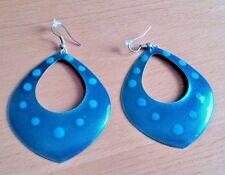 Vintage Retro Metal Enamel Turquoise Blue Polka Dot Drop Diamond-Shaped Earrings