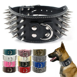 Spiked Studded Dog Collar 7.5cm Wide PU Leather Adjustable Rottweiler Doberman
