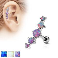 5 Opal Set Ear Cartilage Piercing Lobe Helix Tragus Barbell Stud Earring