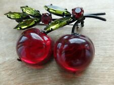 Vintage Austria Double Glossy Red Cherry/Apple  Glass Fruit  Brooch/Pin