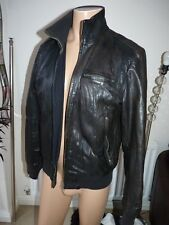 ZARA MAN MENS BLACK BROWN 100% REAL LEATHER BOMBER BIKER JACKET UK 42