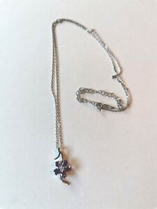 Lily Lee Amethyst Flower Necklace, Platinum Plated