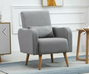 ^ Nordic Chair Grey Linen Fabric, Wood, Armchair Sofa Chair,Living Room 36:21