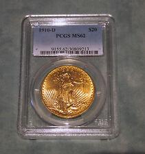 $20 GOLD  MS62 PCGS SAINT GAUDENS 1910-D(DENVER) COIN DOUBLE EAGLE - RARE - FA-7