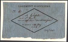 Occupation Russe. Saint-Quentin. Billet de réquisition logement d'officier. 1814