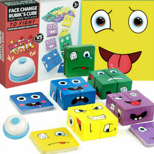 Geometric Cube Face-Changing Puzzle Building Interaction Kids Toy Wooden sh