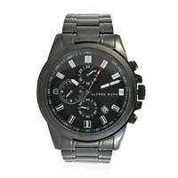 ALFRED SUNG Japanese Movement Fashion Accessory Watch in ION Plated Black Steel
