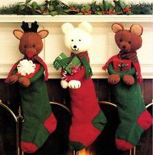 Toy Knitting Pattern for Brown Bear, Polar Bear & Reindeer Xmas Stockings