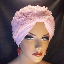 "Chemo Turban Retro 1950's Look Ruffles on Light Pink Knit   ""Something4you"" Hat"