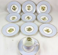 10 SETS CUP & SAUCER ROYAL WORCESTER CHINA Z2091 AH WILLIAMSON BLUE GOLD FLOWERS