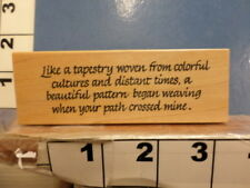 Like a tapestry woven weaving saying RUBBER STAMP 3V