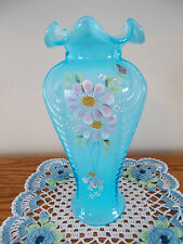 FENTON HAND PAINTED FLOWERS ON CELESTE BLUE OVERLAY FEATHER VASE *QVC*
