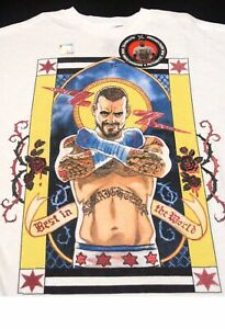 CM Punk WWE Best In The World ROH GTS Cult Of Personality Ringer Shirt Medium