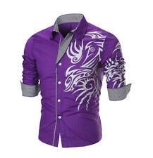 Men's Dragon Print Stripe Panel Shirt Purple Long Sleeve Casual Dress Medium