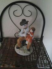 Vintage Mic Delicate Porcelain Old Man Holding A Little Girl Bird Figurine