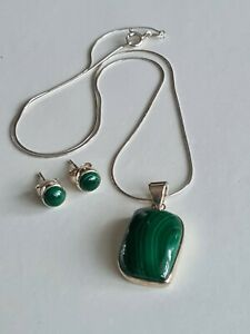 Sterling Silver Malachite Pendant on S/S Chain with S/S Stud Earrings (not plate