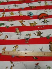 White/Red Dr Seuss Striped Which Pet Should I Get Cotton Fabric by the Yard