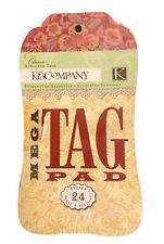 K&Company Mega Tag Pad Classic 24 DIY Craft Scrapbooking Journal Tags RARE NEW