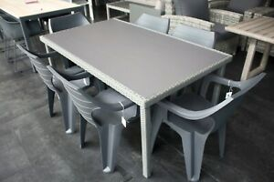 Leongatha 7 Piece Outdoor Setting - Wicker and Glass Table with polyresin chairs
