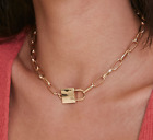 Sid Vicious Style Choker Paperclip Necklace Padlock Pendant Gold / Silver Plated