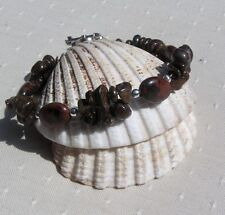 "Mahogany Obsidian & Bronzite Crystal Gemstone Bracelet ""Caramel"""