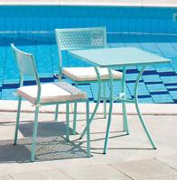 tavolo tavolino serie stella azzurro acciaio cm 60x60x72 h arredo esterno