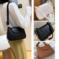 Women Baguette Purse Flap Shoulder Bag PU Leather Woven Strap Underarm Handbag