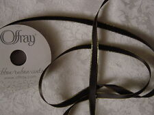 Ribbon Offray BLACK SATIN /w Metallic edge 3/8in x 5yd NEW craft,gift,bow/favors
