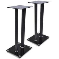 2 pcs Glass Aluminium Audio Speaker Stand Modern Elegant Sturdy with 2 Pillars
