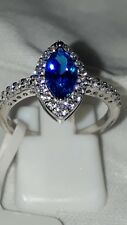 925 STERLING SILVER RHODIUM BLUE MARQUISE WHITE SAPPHIRE DRESS RING SIZE 6 7 8