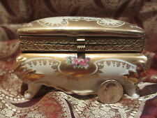 Vintage Royal Crown Hand Painted Dresden Box Hinged Antique! WOW! Amazing!