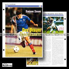 #044.11 - ZINEDINE ZIDANE De ses débuts à 1994 (CANNES BORDEAUX) Fiche Football