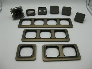 Merten Atelier Bronze Rahmen Basis M1 Braun Steckdosen Wippe Abdeckung TV N&G
