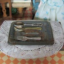 Antique Victorian 1800s Doll Miniature Tin Tea Tray Silverware 50s Utensils Lot