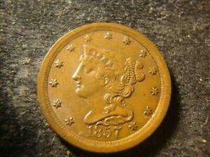 1857 BU Glossy Sharp Coronet Braided Hair Half Cent  Nice ALDZ