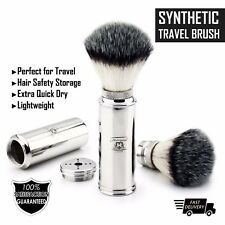 Men's Travel Friendy Shaving Brush With Synthetic Hair in Stainless Steel Handle