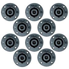 Ten Pack of 8 Pole Speakon Flush Install Panel Connector Twist Lock Input Jacks