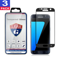 """(3 Pack) GLASAVE Samsung """"Galaxy S7"""" FULL COVER Tempered Glass Screen Protector"""
