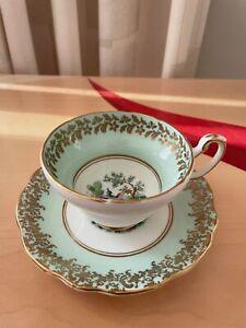 Vintage Pale Green Gold Gilt Foley Tea Cup & Saucer Bird of Paradise Pheasant