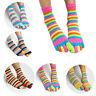 Women's Girl Colorful Striped Five Finger Toe Socks-GSM Fashion Rainbow Socks