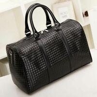 New Large Mens Black Leather Travel Bag Weekend Overnight Duffle Handbag BL