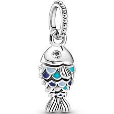 Original PANDORA® Charm Dangle Element 799428 C01 Kleiner Blauer Fisch Silber