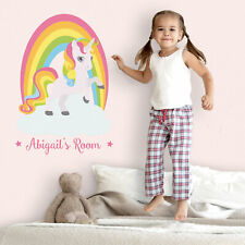 Personalised rainbow unicorn wall sticker | Girls room décor | Wall decals