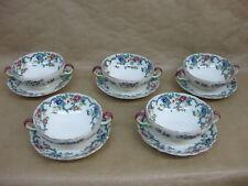 5 Vintage Royal Cauldon Victoria Soup Coupes & Saucers