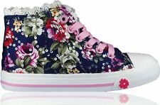 UK Girls Kids Flat Casual Shoes Canvas Lace Up Floral Glitter Pumps Plimsolls