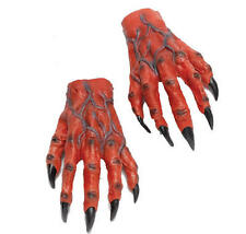 LARGE RED DEVIL MANI Demone Mostro Halloween FANCY DRESS GUANTI ADULTO