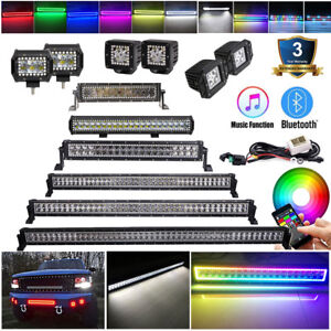 3/4/14/20/22/32/42/50INCH RGB HALO CHASING LED LIGHT BAR Pods Wireless Bluetooth
