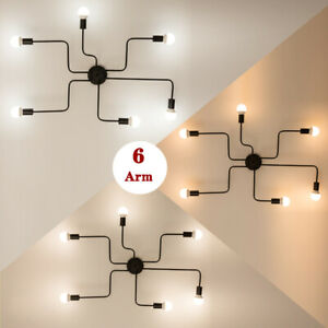 6 Arms E27 Fitting Nordic Black Pipe Metal Ceiling Lights Chandelier Indoor Lamp