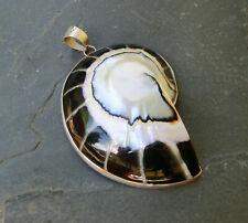großer Nautilus Muschel Anhänger Schwarz 925 Sterling Silber Neu * Naturschmuck